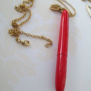 RARE! Kate Spade Doodle Pen Red Pendant Necklace